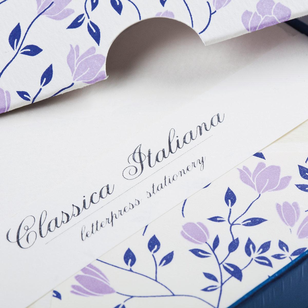 Carta italiana tipografica con fiori