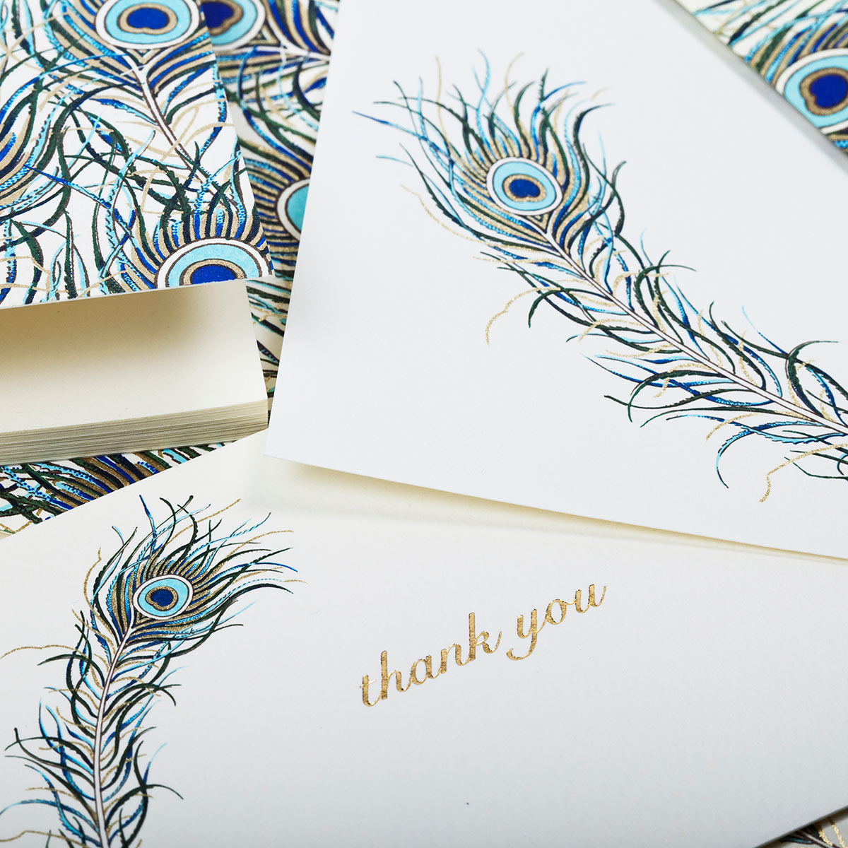 Carta classica italiana con piume di pavone
