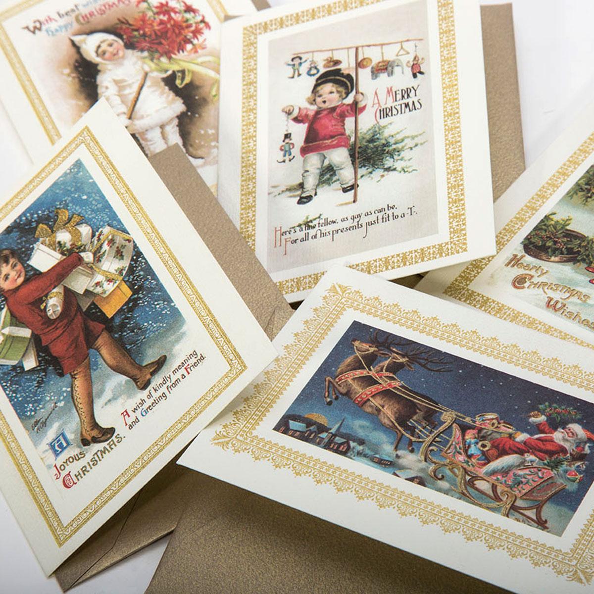 Carta natalizia di lusso con campiture in oro